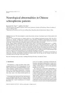 Neurological abnormalities in Chinese schizophrenic patients - Hindawi
