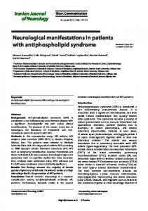 Neurological manifestations in patients with ... - Semantic Scholar