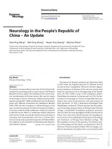 Neurology in the Peoples Republic of China - An ...