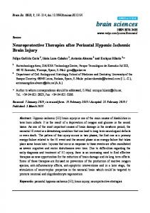 Neuroprotective Therapies after Perinatal Hypoxic ... - CiteSeerX