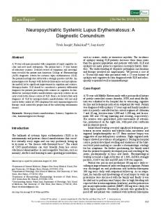 Neuropsychiatric Systemic Lupus Erythematosus - Journal of Clinical ...