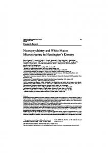 Neuropsychiatry and White Matter Microstructure in ... - IOS Press
