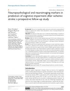 Neuropsychological and neuroimaging markers in ... - Semantic Scholar