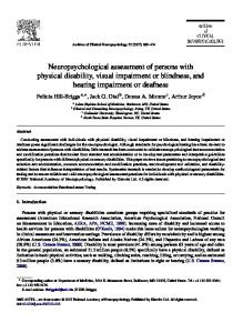 Neuropsychological assessment of persons with ... - Semantic Scholar