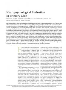 Neuropsychological Evaluation in Primary Care - Semantic Scholar