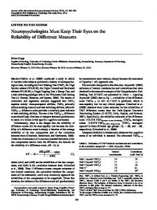 Neuropsychologists Must Keep Their Eyes on the ...