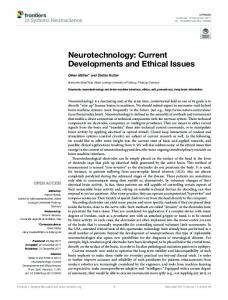 Neurotechnology: Current Developments and