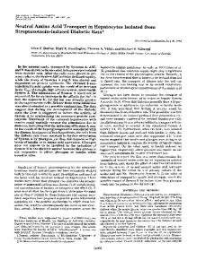 Neutral Amino Acid Transport in Hepatocytes Isolated from ...