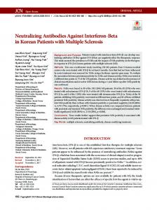 Neutralizing Antibodies Against Interferon-Beta ... - KoreaMed Synapse