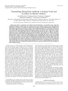 Neutralizing Monoclonal Antibody to Edema Toxin and Its Effect on ...