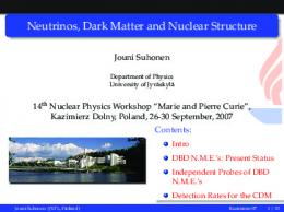 Neutrinos, Dark Matter and Nuclear Structure