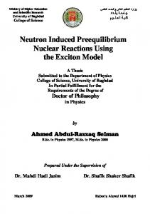 Neutron Induced Preequilibrium Nuclear Reactions