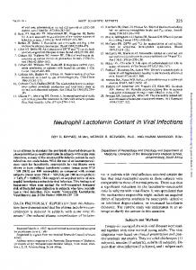 Neutrophil Lactoferrin Content in Viral Infections