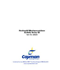 Neutrophil Myeloperoxidase Activity Assay Kit - Cayman Chemical