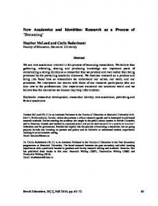 New Academics and Identities: Research as a Process of - Eric