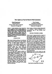 New Algebra as Tool for Electric Field Calculation