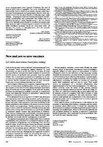 New and not so new vaccines - Europe PMC