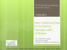 New Approaches for Schema Therapy with Children