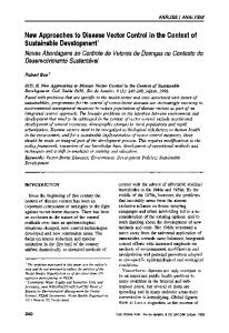 New Approaches to Disease Vector Control in the