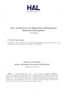 New Architectures for Handwritten Mathematical Expressions