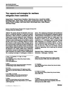 New aspects and strategies for methane mitigation