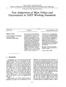 New assignment of mass values and uncertainties to ... - NIST Page