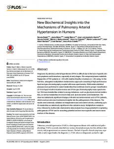 New Biochemical Insights into the Mechanisms of Pulmonary ... - PLOS