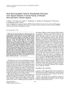 New Biocompatible Cationic Amphiphiles Derivative ... - Science Direct