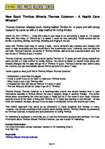 New Book Tinnitus Miracle Thomas Coleman - A Health ... - FPRC