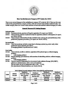 New Cardiothoracic Surgery CPT Codes for 2013