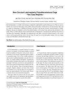 New Cervical Laminoplasty Polyethererketone Cage - Semantic Scholar