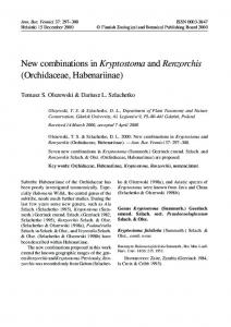 New combinations in Kryptostoma and Renzorchis (Orchidaceae ...