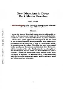 New Directions in Direct Dark Matter Searches - arXiv