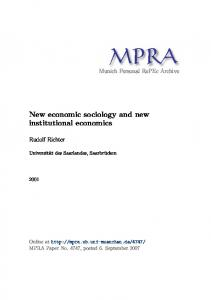 New economic sociology and new institutional economics