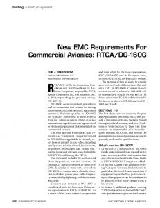 New EmC requirements For Commercial Avionics: rtCA/Do-160g