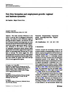 New firm formation and employment growth: regional and business ...