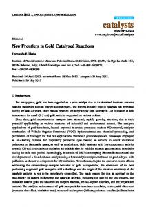 New Frontiers in Gold Catalyzed Reactions - MDPI