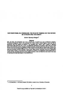 NEW FRONTIERS, OLD PROBLEMS: THE WAR ON ... - SSRN papers
