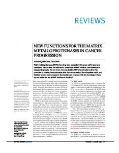 NEW FUNCTIONS FOR THE MATRIX METALLOPROTEINASES IN ...