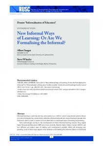 New Informal Ways of Learning: Or Are We Formalising the ... - Raco