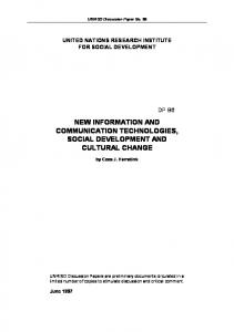 New Information and Communication Technologies, Social ...