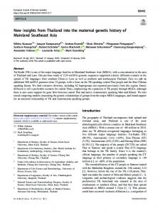 New insights from Thailand into the maternal genetic ...