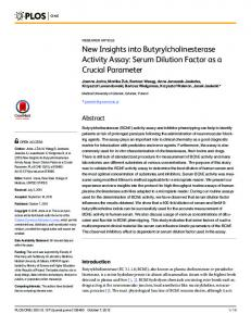 New Insights into Butyrylcholinesterase Activity Assay - CiteSeerX