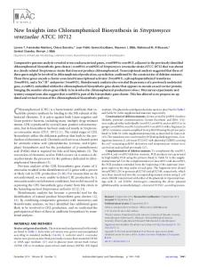 New Insights into Chloramphenicol Biosynthesis in Streptomyces ...