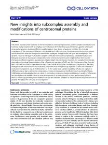 New insights into subcomplex assembly and ... - BioMedSearch