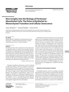 New Insights into the Biology of Peritoneal