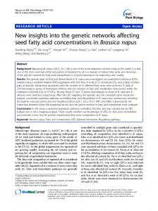 New insights into the genetic networks affecting seed ... - Springer Link