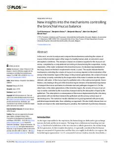 New insights into the mechanisms controlling the bronchial ... - PLOS