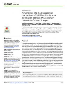 New insights into the transposition mechanisms of IS6110 and ... - PLOS