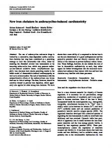 New iron chelators in anthracycline-induced cardiotoxicity   SpringerLink